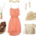Красивое персиковое платье. с чем носить персиковое платье?